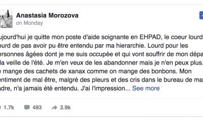 Le triste message d'une aide-soignante française devient viral...
