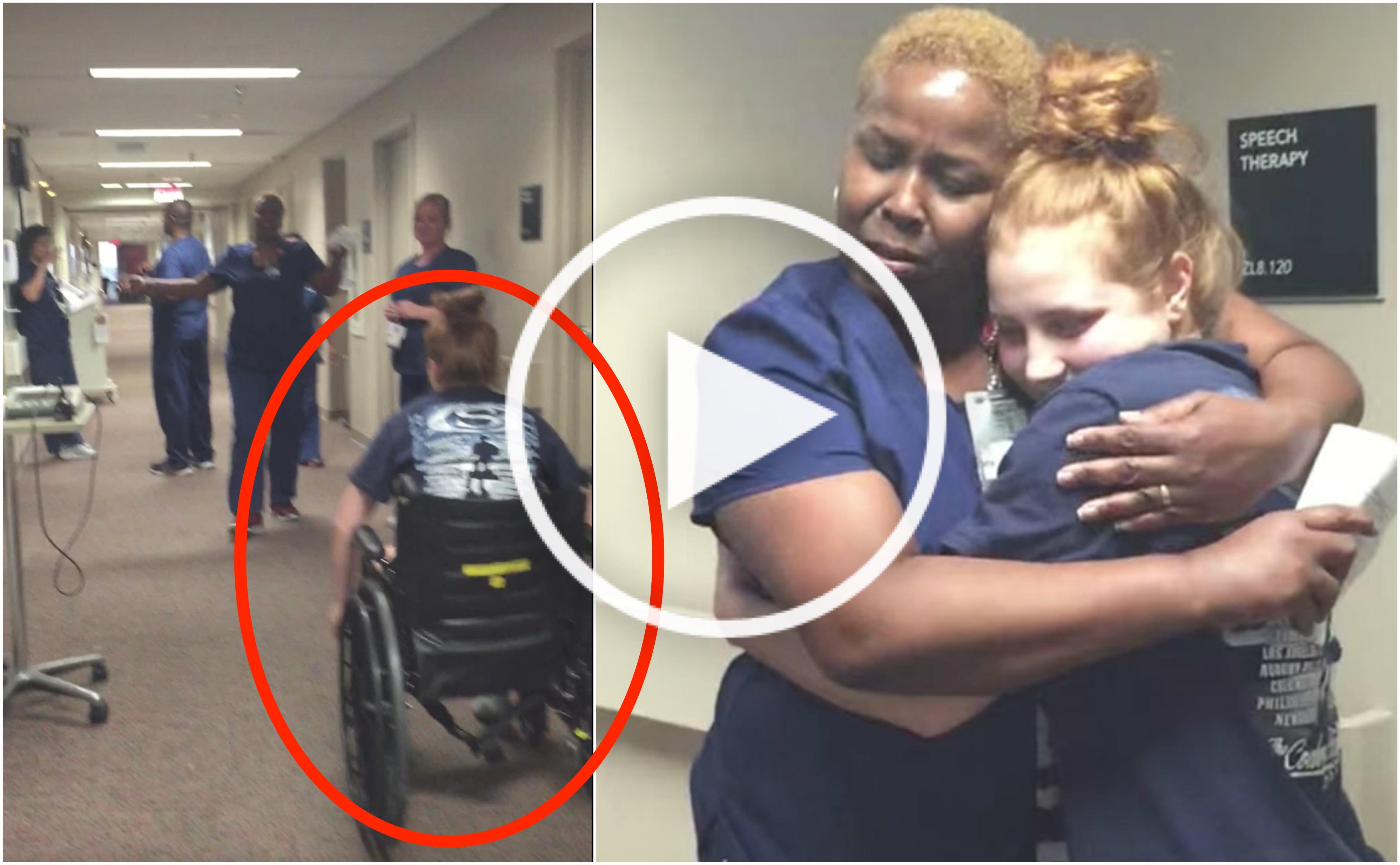 Cette infirmière explose de joie quand sa patiente se lève de son fauteuil roulant